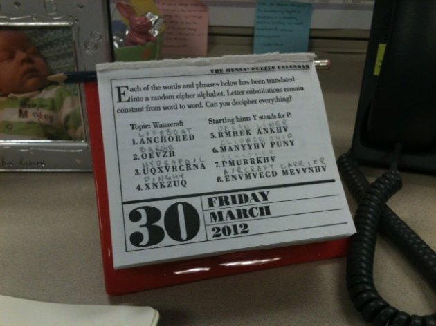 Mensa calendar