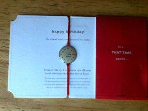 An Anthropologie birthday card