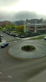 A roundabout, and the main entrance to the JCC campus.