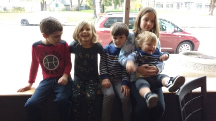 Johnny, Ele, Henry, Brynn, and Grant, and everyone looking and smiling! Hello Christmas Card! So lucky that no one looks uncomfortable or like their aunt or mother is making them pose! What amazing luck.